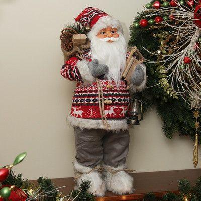 NorthlightSeasonal Nordic Standing Santa Claus Christmas Figure with Snow Sled and Gift Bag