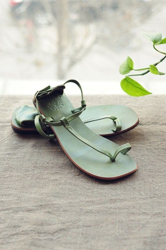 Mint green leather sandals