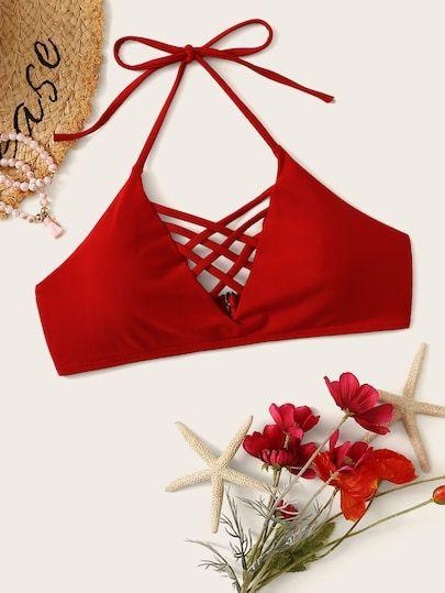 9b997efde06 Lattice Halter Bikini Top swimwear #summer swimwear #Casual swimwear  #Elegant swimwear #Sport