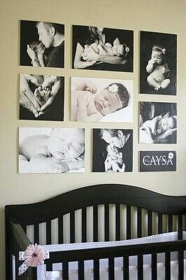 Baby room.. wall ideas with pictures taken would be great in sepia or black and white