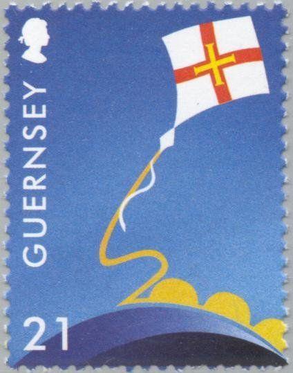 Stamp: Guernsey Flag on Kite (Guernsey) (Europa (C.E.P.T.) 2000) Mi:GG 851,Sn:GG 709,Yt:GG 861,Sg:GG 863