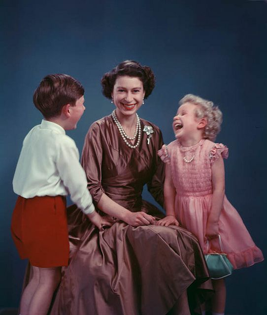 The Queen with Prince Charles and Princess Anne chuckling ~ 1954 ~ what a cute photo..: