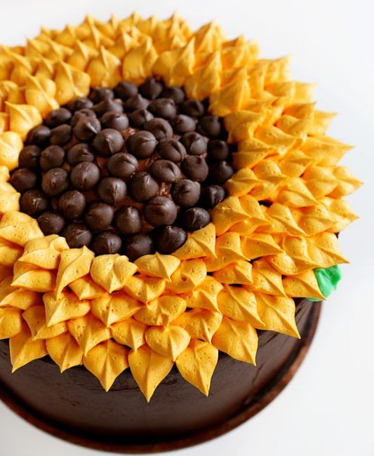 Sunflower Cake - Simply cake but so pretty to look at! Includes easy-to-follow instructions on video that make it look like a whiz to make!