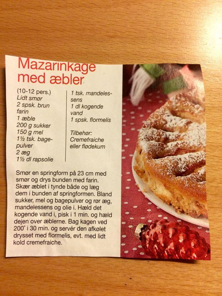Mazarinkage med æbler. Jeg fik denne opskrift af min søde kollega Bodil. Kagen er nem og hurtig at lave og den smager fantastisk godt ...