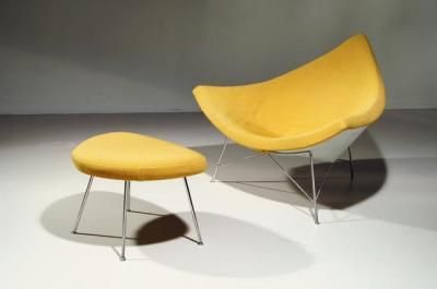 Yellow Coconut #Chair and Ottoman by George Nelson: Midcentury