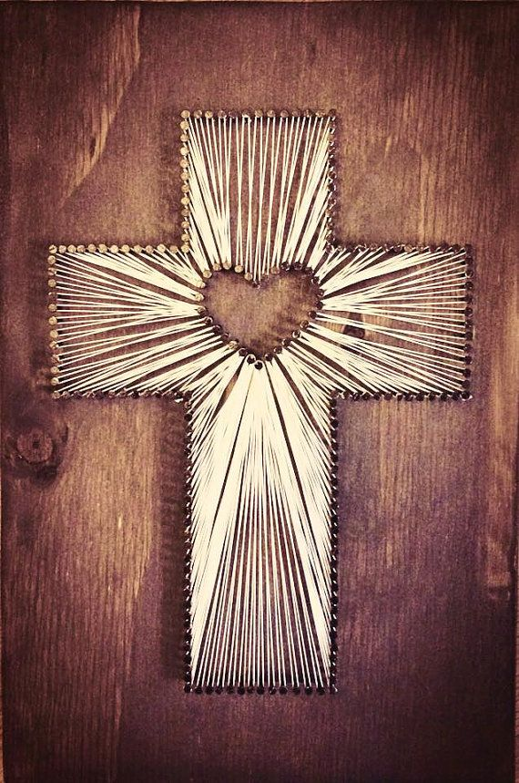 Custom Stained Cross w/ heart String Art. 8x12 handcut espresso stained wood. Black nails with string cross & heart cutout in middle. Picture