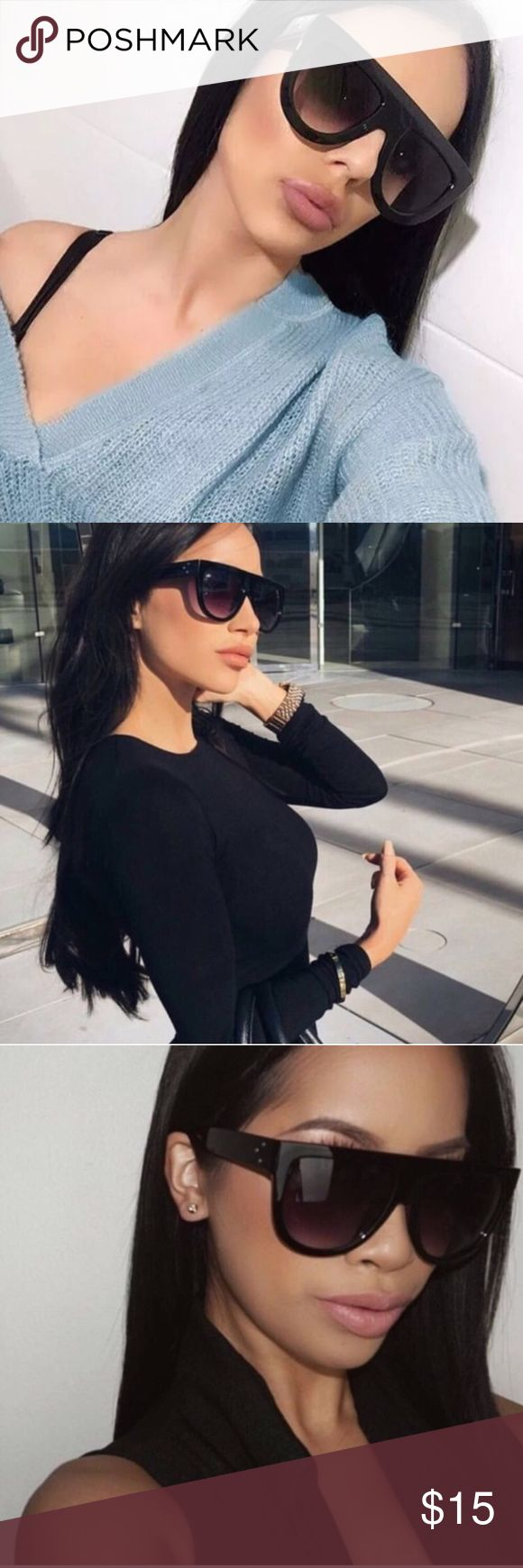 """Coming Soon 💕Luxury Flat Top Sunglasses Will be available next week ❤️   * The """"It"""" Sunnies of the season * Features three dots on the side * Plastic based frame, metal hinges, and UV400 protected lenses * Lens Width: 56mm * Nose Bridge: 16mm * Lens Height: 49mm * Total Width: 142mm Accessories Sunglasses"""