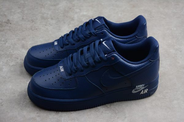 "Nike Air Force 1  07 Low ""Emblem"" Leather Blue Sneakers in 2019 ... 4949b1769"