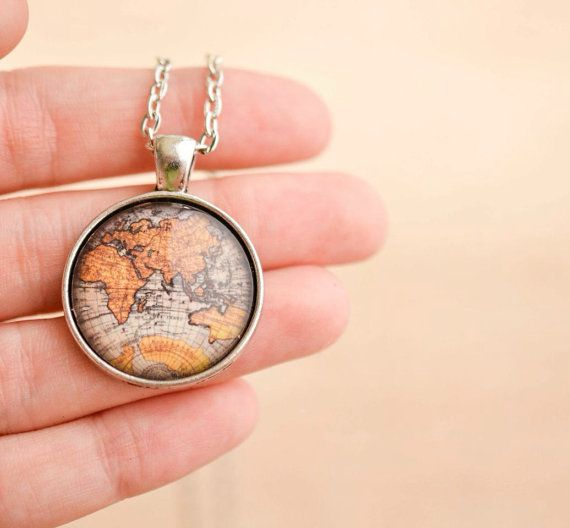 Best 25 map necklace ideas on pinterest world map necklace world map necklace antique map necklace globe by livinfreely gumiabroncs Image collections