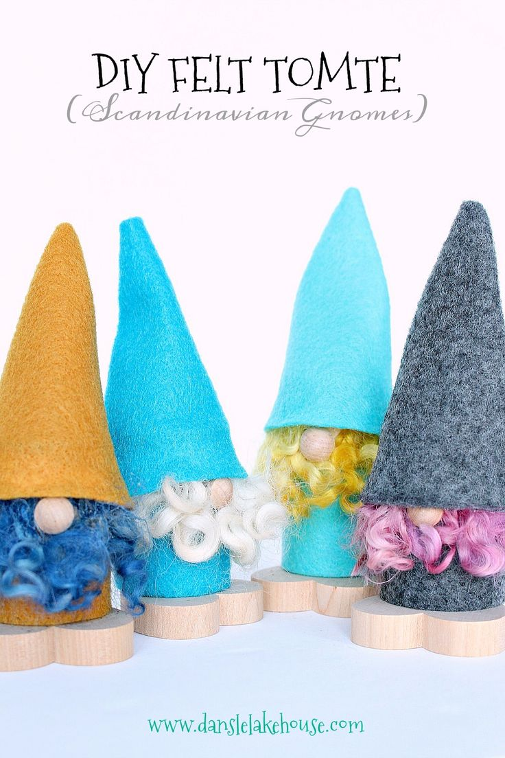 Learn how to make these adorable DIY felt tomte (Scandinavian gnomes). Such an easy felt craft - fun to make with the kids. Create a row for the mantle, for Scandinavian-inspired holiday decor, or make them as gift toppers - no one can resist their tiny faces.