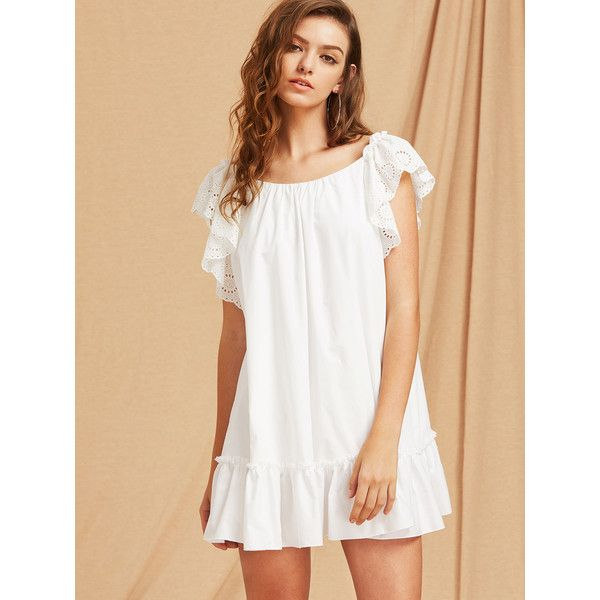 Eyelet Embroidered Flutter Sleeve Bow Back Tiered Hem Dress ($25) ❤ liked on Polyvore featuring dresses, bow back dress, ruffle sleeve dress, frill sleeve dress, white day dress and embroidery dress