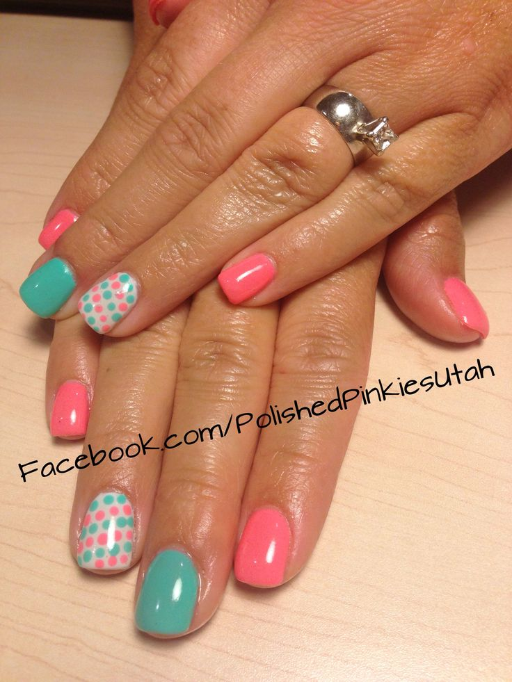 Polished Pinkies Utah: if turquoise and coral get married... I would definitely imagine these nails as the outcome! Love this simple polka dot nail art and the colors are to die for! Perfect for spring or summer or even for a pop of color in the winter! Shellac, full set, gel nails.