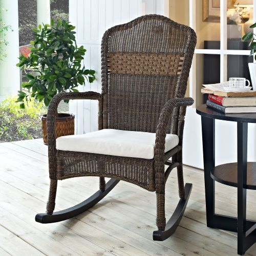 Coral Coast Mocha Resin Wicker Rocking Chair with Beige Cushion - Outdoor Rocking Chairs at Hayneedle