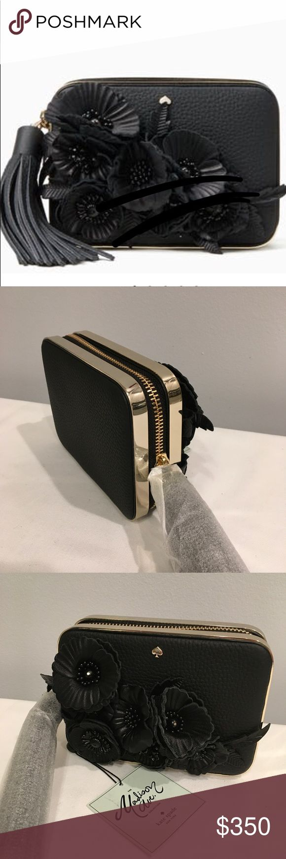 """Kate Spade Madison Avenue Clutch Madison Avenue Zurie  Silk, Flowers and Tassel! Luxury in the palm of your hand! 6.4""""w x4.7""""h x 1.8""""d New, as you can see on the last photo there is minor scuff , can't see it unless you magnified it. Bags Clutches & Wristlets"""