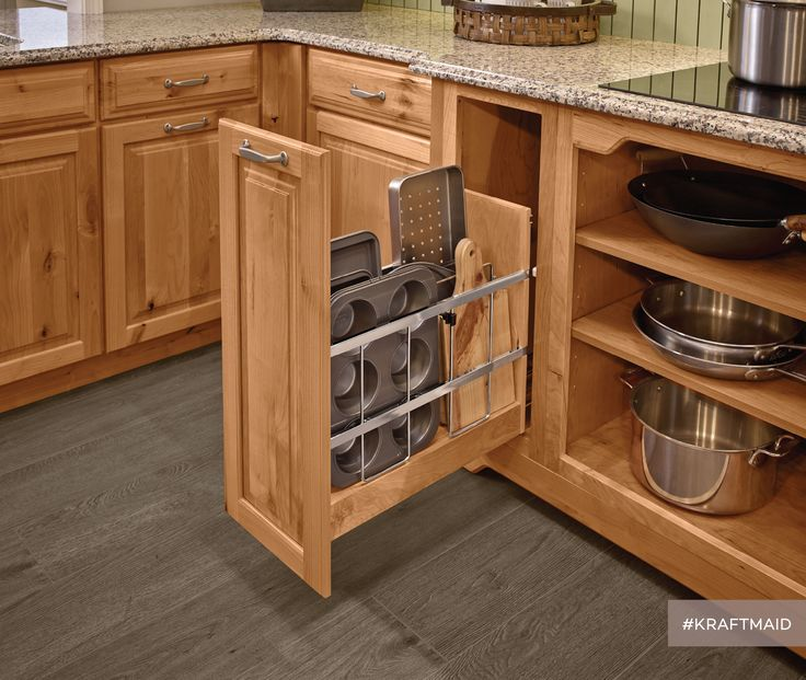 a spot for cookie sheets cutting boards and anything that tends to get all jumbled kraftmaid kitchen cabinetsrustic kitchen - Cutting Kitchen Cabinets