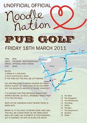 pub golf flyer.. Reminds me of the pub crawl in Edinburgh