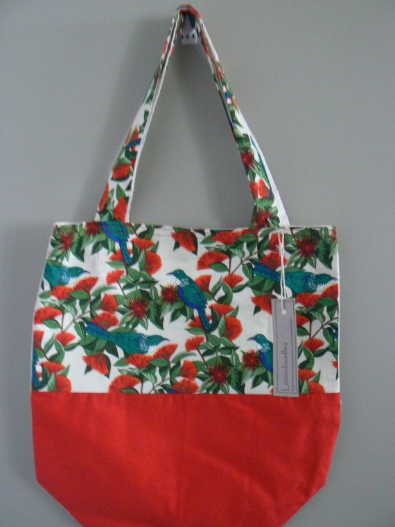 Pohutakawa and Tui fabric design Tote Bag available at www.etsy.com/lizziedoodlesnz