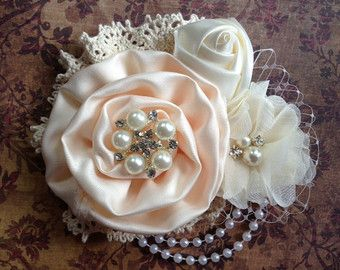 Vintage inspired light peach and ivory satin and by lexicouture