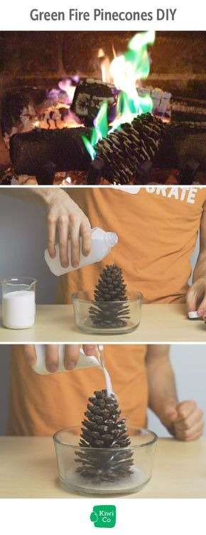 Green Fire Pinecones DIY. Did you know that fire doesn't always burn orange? In fact, there are a wide range of colors that fire can be. In this chemistry experiment, we'll show you how to make a pinecone that creates green fire when tossed in your fireplace! for kids, activities, winter, projects, simple, easy, high school, middle school, experiments, fun, cheap, quick, cool, holiday