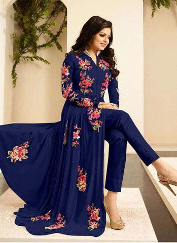 Royal Blue Floral Embroidered Anarkali In Georgette