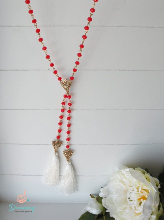coral red crystal long necklace