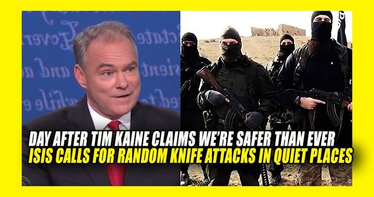 """Oh, the irony. This was yesterday – Sleazy Salesman Tim Kaine claiming we are safer now under Obama than we ever have been. (He's Wrong) An this is what is going on TODAY, showing once again – Tim Kaine knows NOTHING. PJ Media Reports A new magazine issued by the Islamic State advises lone jihadists to get over any squeamishness about using knives and embrace sharp objects as """"widely available"""" weapons of jihad in nighttime stabbing campaigns. ISIS' Al-Hayat Media Center issued the second…"""