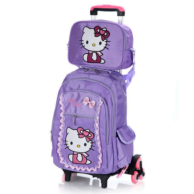 77e58c951714 Hello Kitty Children School Bags set Mochilas Kids Backpacks With Six Wheels  Trolley Luggage For Girls backpack wholesale