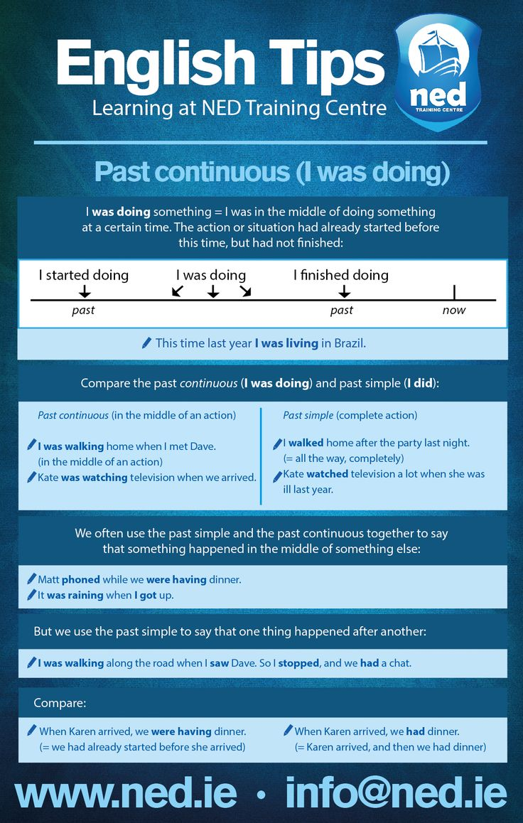 English Tips at NED Training Centre. Past Continuos (I was doing).  info@ned.ie www.ned.ie