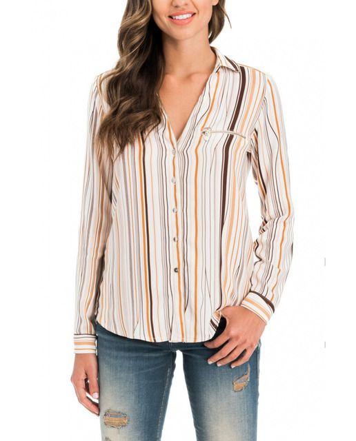 5d08f7376910 Camisa de mujer Salsa de rayas verticales en marrón y naranja · Moda ...