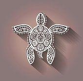 Estampa decorativa tartaruga, estilo de tatuagem tribal totem animal, padrão de renda