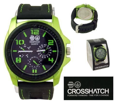 CROSSHATCH Mens Analogue Watch Black Face / Green Marks & Bezel BNIB - BUY NOW @ 17.99 + £2.94 postage