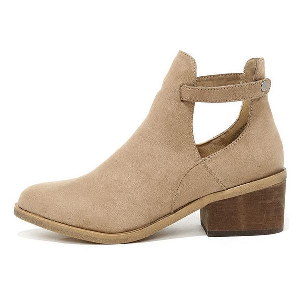 Side Kicks Natural Suede Cutout Ankle Booties ($44) ❤ liked on Polyvore featuring shoes, boots, ankle booties, beige, cut-out booties, beige booties, strappy booties, strappy ankle boots and short boots