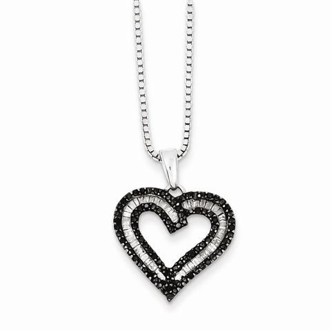 60 best black diamond pendant neclace images on pinterest sterling silver black and white diamond heart pendant necklace aloadofball Choice Image