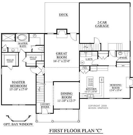 House plan 2727 c fairfield c first floor traditional 2 for Great room floor plans single story