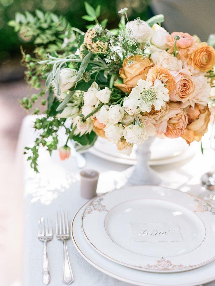 Romantic Peach Wedding Place Setting