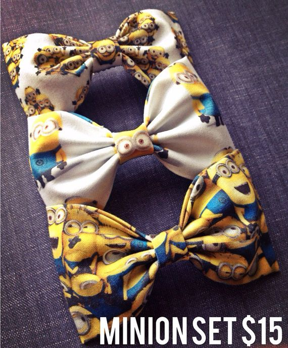 Minion fabric bow tie hair bow set by Bowliciousdivas on Etsy, $15.00