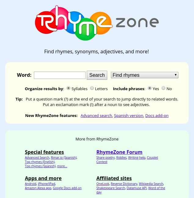 Find Rhymes Synonyms Adjectives And More Rhyming Dictionary