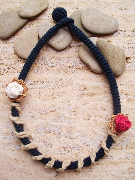 Necklace Crochet necklace with natural jute rope Rope by LindaLejn, $31.00