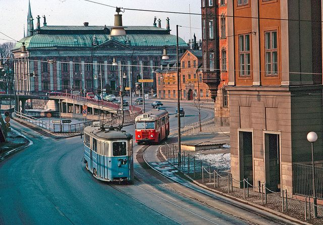 Bus and tram on Munkbron in Stockholm 1964 | Flickr - Photo Sharing!