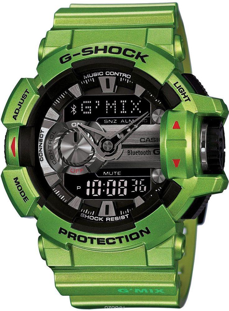 Часы мужские наручные Casio G-SHOCK, цвет: зеленый, черный. GBA-400-3B