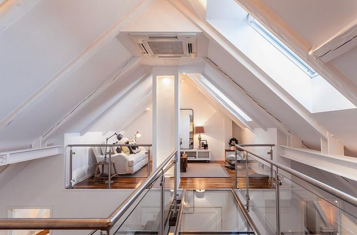 Found on Skeppsholmen, this open plan,1,087 square foot, duplex penthouse is located in the Roeda Bergen, a part of Vasastan in Stockholm, Sweden.