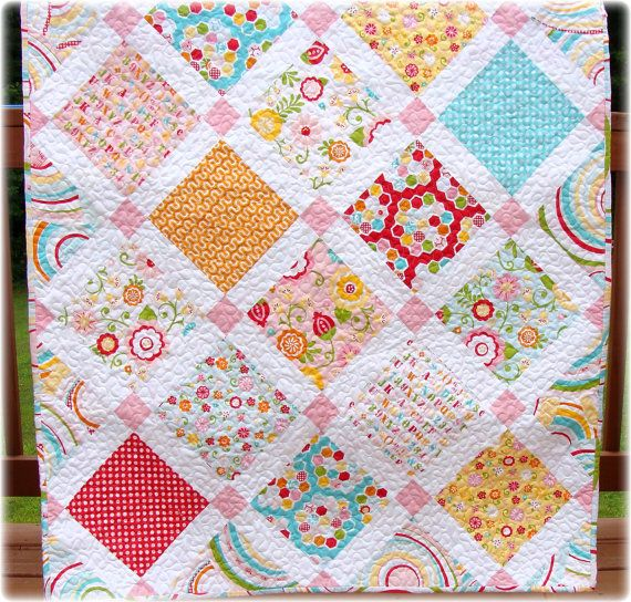 Baby Girl Quilt Simply Sweet by CarleneWestberg on Etsy, $135.00