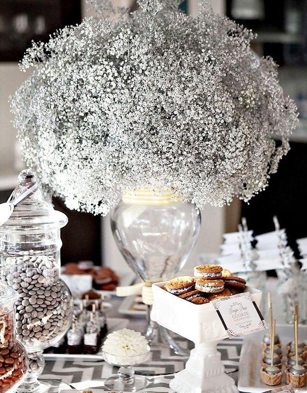 Dessert table- winter wonderland party :) babys breath.