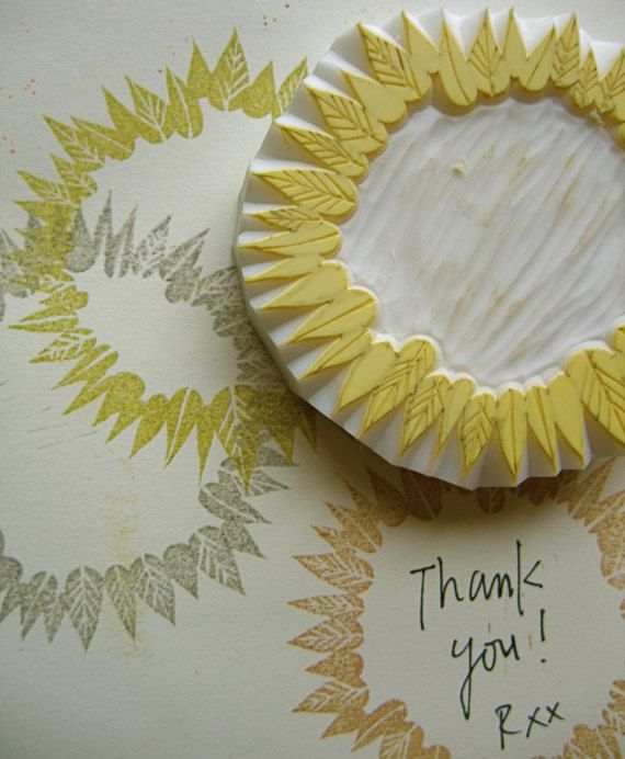 leaf wreath rubber stamp  - hand carved rubber stamp - handmade journaling rubber stamp - no3. $25,00, via Etsy.