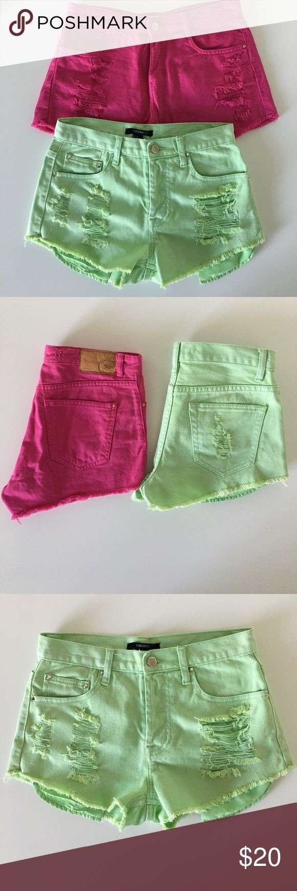 Bundle Two High-Waist Jean Shorts Bundle of two items. Color: Pistachio Green, Brand: Forever21, Size: 26, High-Waisted Jean Shorts with ripped pockets and fringed cut off edge. Front button-up with front and back pockets with studs detail. Color: Hot Pink, Brand: Zara, Size: 26, front button and zipper, front and back pockets, High-Waisted Jean Shorts with ripped pockets and fringed cut off edge. Good Used Condition. Shorts Jean Shorts