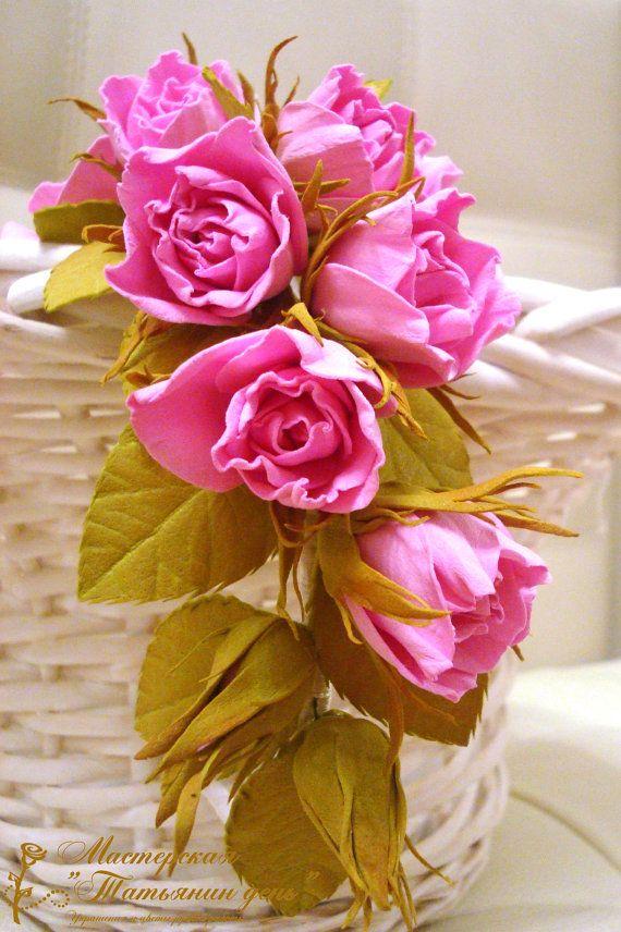 Свадебный венок с нежными розами от TanyaFloralJewelry на Etsy