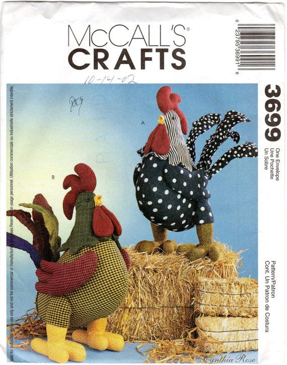 Craft Stuffed Rooster Pattern