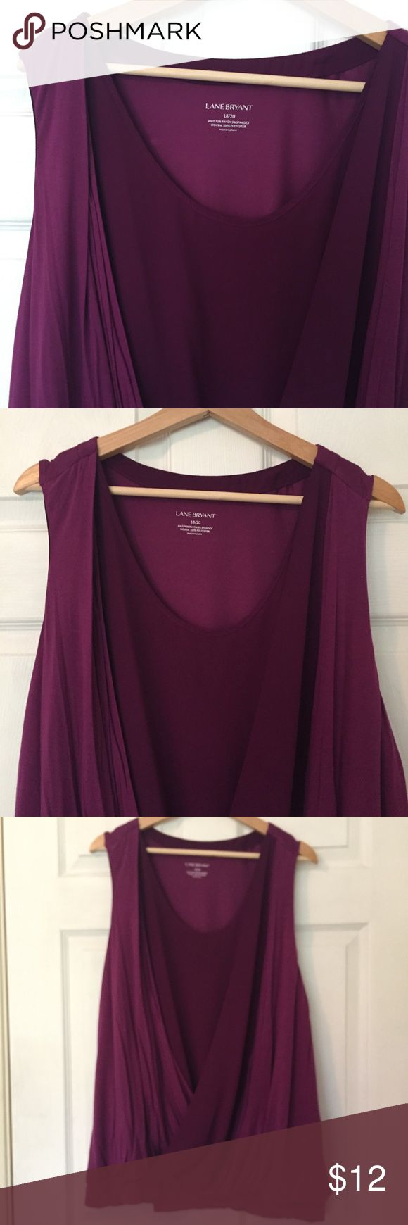 Lane Bryant Top Lane Bryant Top. Good, Clean Lightly Loved Condition. Lovely Rich Purple/Plum Blousy Drape. Soft Jersey with Inner Chiffon Panel Accent. So Flattering & Pretty! Lane Bryant Tops