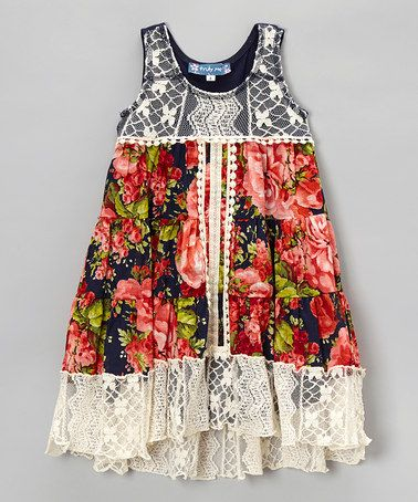 Look at this #zulilyfind! Navy Floral Lace Dress - Girls by Truly Me #zulilyfinds