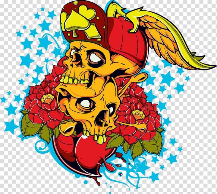 T Shirt Skull Red Flowers Skull Illustration Transparent Background Png Clipart Skull Illustration Red Flowers Transparent Background